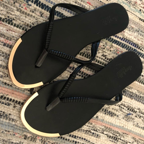 e0758ee55789 Charlotte Russe Shoes - Black Flip Flops with Gold Accent